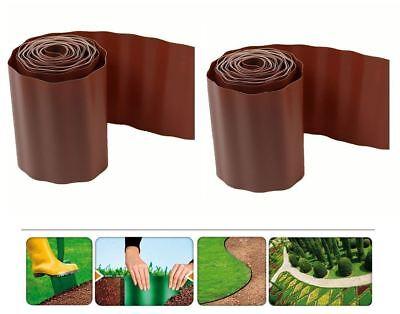 GARDEN GRASS FLEXIBLE GRAVEL FENCE PATH EDGING BROWN PLASTIC BORDER NEW