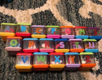 Fisher Price Peek-a-Boo Blocks ABC Alphabet Letter Blocks - 18 Blocks Lot - A Z