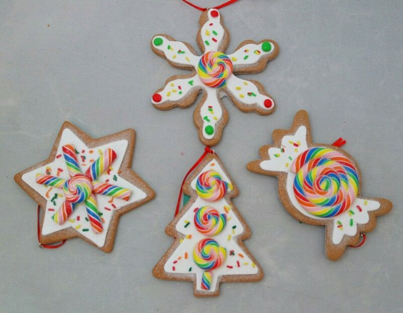 "Cookie Ornament Gingerbread Set 4 White Brown 4"" Clay-dough Christmas Kurt Adler"