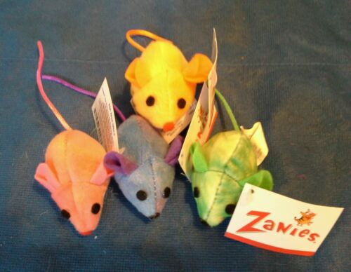 Zanies Tie Dye Mice w/Honeysuckle cat toys. 6/$5.40.