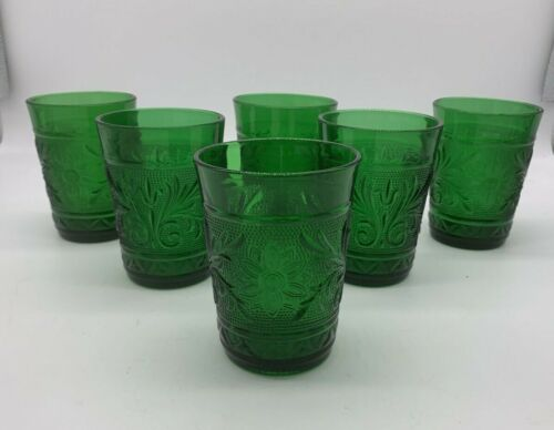 6 Anchor Hocking Sandwich Forest Green Juice Glasses Depression MCM SUNFLOWER