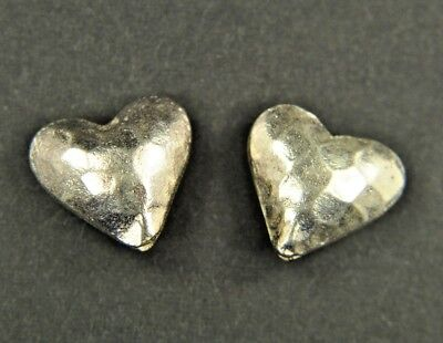 2 Thai Silver Puffed Hammered Hearts Hill Tribe Handcrafted Pendant Charm Bead