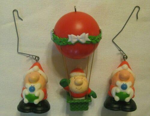VTG Ziggy AGC (American Greetings Co.) Christmas Ornaments Air Balloon & Puppy