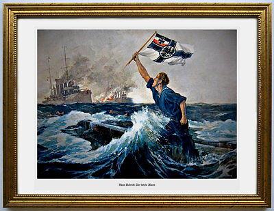 """A3 Reservistenbild, Kriegsmarine """"Der letzte Mann"""" Kunstdruck toll gerahmt"""