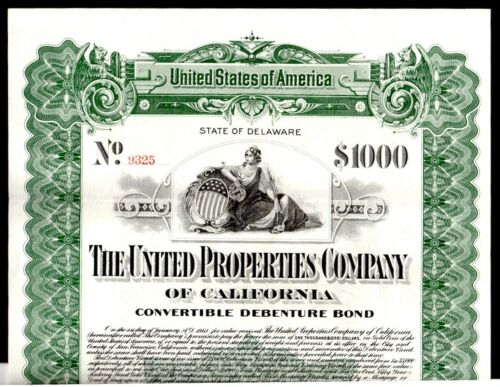 CA: UNTIED PROPERTIES of CALIFORNIA Co. $1000 50 Yr. Sinking Fund Gold BOND 1911