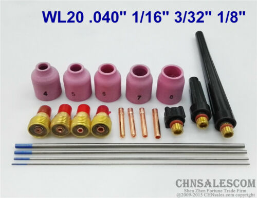 20 pcs TIG Welding Torch Gas Lens parts Kit for WP-9 WP-20 WP-25 WL20 Tungsten