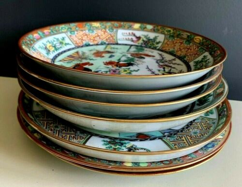 Vtg Chinese ROOSTER Dinner Plates Serving Bowls Dish HandPainted Hong Kong Lot
