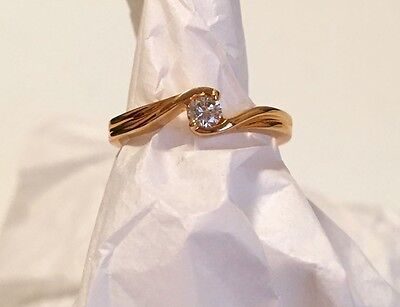 Free Shipping Cz Fashion Costume Solitaire Round Band Ring Yellow Gold 5 6 7 8 9