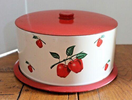 Vintage Decoware Red Apples  Mid Century Metal Cake Carrier / Holder