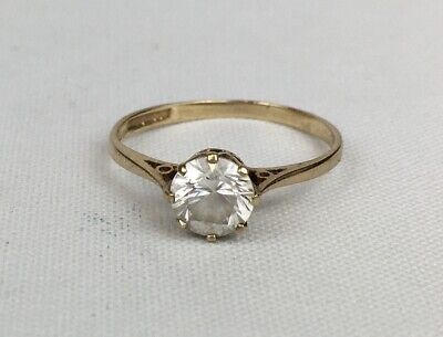 Vintage 1991 9ct Yellow Gold CZ Cubic Zirconia Solitaire Ring Size M 1/2 1.4g