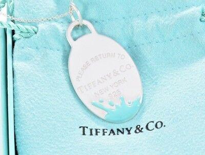 Tiffany & Co.Silber Return To Blau Emaille Farbe Splash Oval Tag Charm Halskette