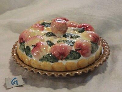 "Rare Vintage 9"" Ceramic Covered Apple Pie Saver Dish"