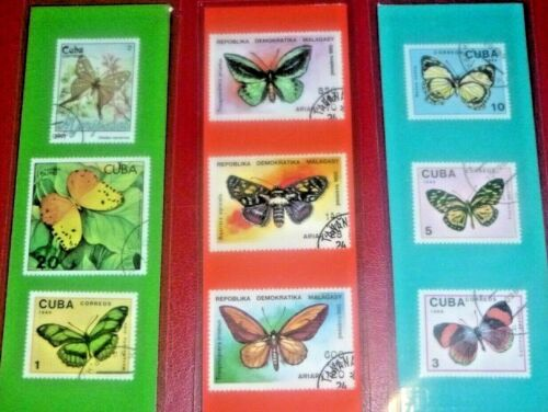 3 BOOKMARKS~ BUTTERFLY Laminated POSTAGE STAMPS BUTTERFLIES! 778