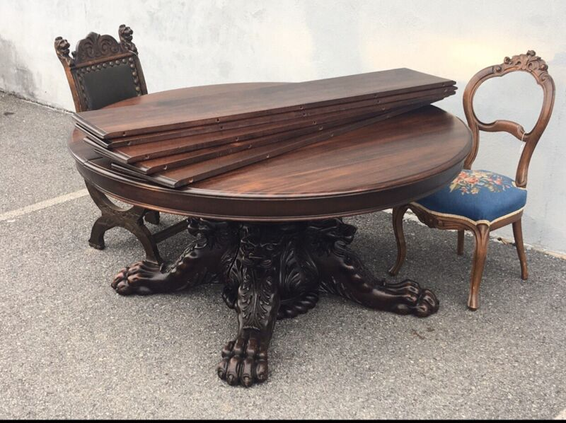 1890s Mahogany Carved Horner Dining Table. Victorian/ Hastings