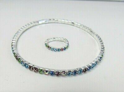 Silver Multicolor Rhinestone Stretch Ankle Bracelet Set Anklet & Toe Ring Set