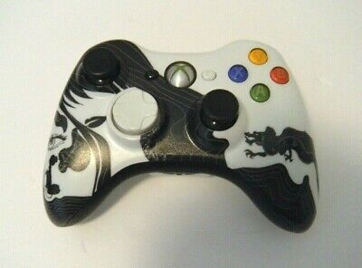 Microsoft Xbox 360 Wireless Controller - White & Black Dragon Design  Pre-Owned