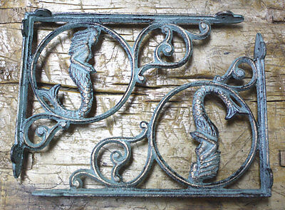 2 Cast Iron NAUTICAL MERMAID Brackets Garden Braces Shelf Bracket PIRATES Ship