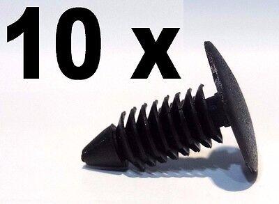 10 x 7mm Door Hole Trim Panel Black Plastic Rivet Pin Clip Fastener for Car