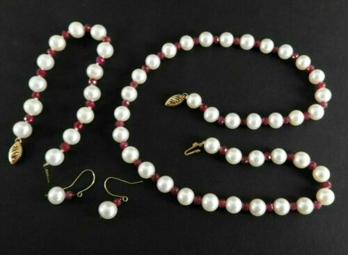 Vintage Cultured Pearl Ruby Set Solid 14K Yellow Gold Necklace Bracelet Earrings