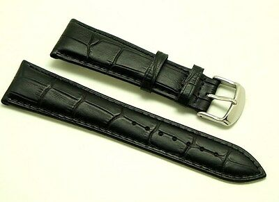 (23mm Black HQ Alligator Grain Leather Men's Watch Strap With 2 Spring Bar)