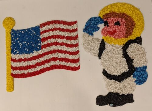 Vintage Melted Popcorn Plastic American US Flag & Astronaut 4th of July HTF