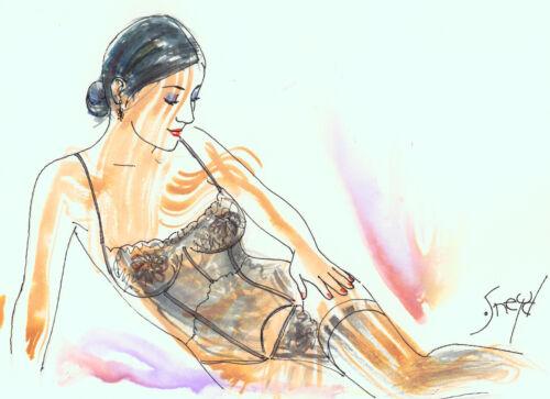 Playboy Artist Doug Sneyd Signed Original Art Sketch ~ Brunette in Lingerie