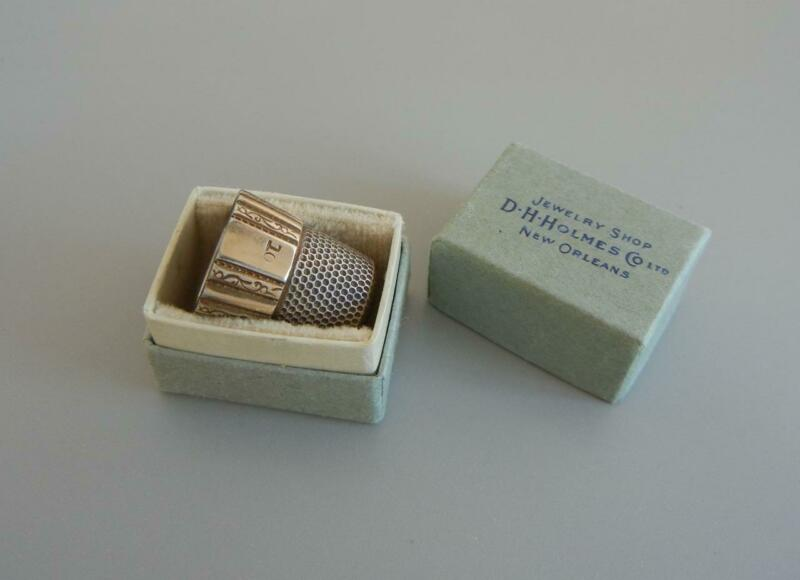 Antique Thimble Sterling Gold Filled Size 10 Original Box Simons Bros