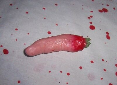 Severed Sticky Stretchy Bloody Finger Halloween Prop Gag Joke Body Parts NEW](Severed Body Parts)