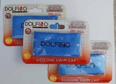 LOT OF 3 (BLUE) DOLFINO HYPOALLERGENIC SILICONE SWIM CAPS PERFECT FIT WD-0820  ()