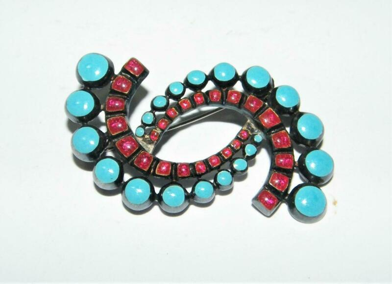 Vintage Margot de Taxco Sterling Pin w/ Turquoise and Red Art Glass