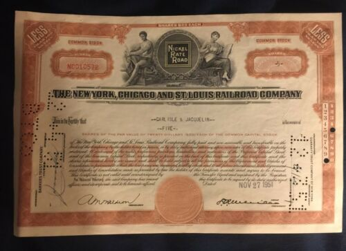 1951 NEW YORK, CHICAGO & ST. LOUIS RAILROAD COMPANY STOCK CERTIFICATE