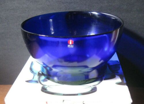 "NEW IN BOX Iittala VERNA Malja Large SALAD BOWL Cobalt Blue FINLAND 7-1/4"" Glass"