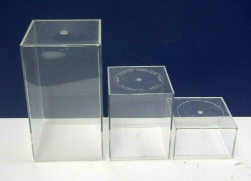 3 PIECE -  ACRYLIC CLEAR FIGURINE DISPLAY RISERS / CONTAINER VERSATILE