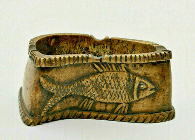 Ashtray OS Carved? Fish Reptile Object Ethnic Decorative Popular Art