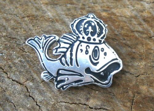 Sterling Silver Mardi Gras Krewe of Pontchartrain Fish Favor Pin New Orleans La