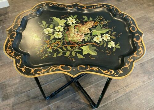 Large Vintage Signed Hand Painted Tole Tray Table by Pilgram Art