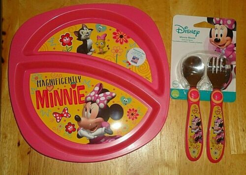Disney Minnie Mouse Divided Plate Spoon & Fork Feeding Set Stainless Steel NEW