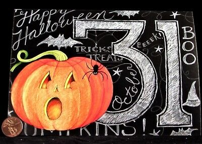 Spider Web Pumpkin (SUSAN WINGET  Pumpkin Spider Web Chalk 31 - Happy Halloween Greeting Card -)