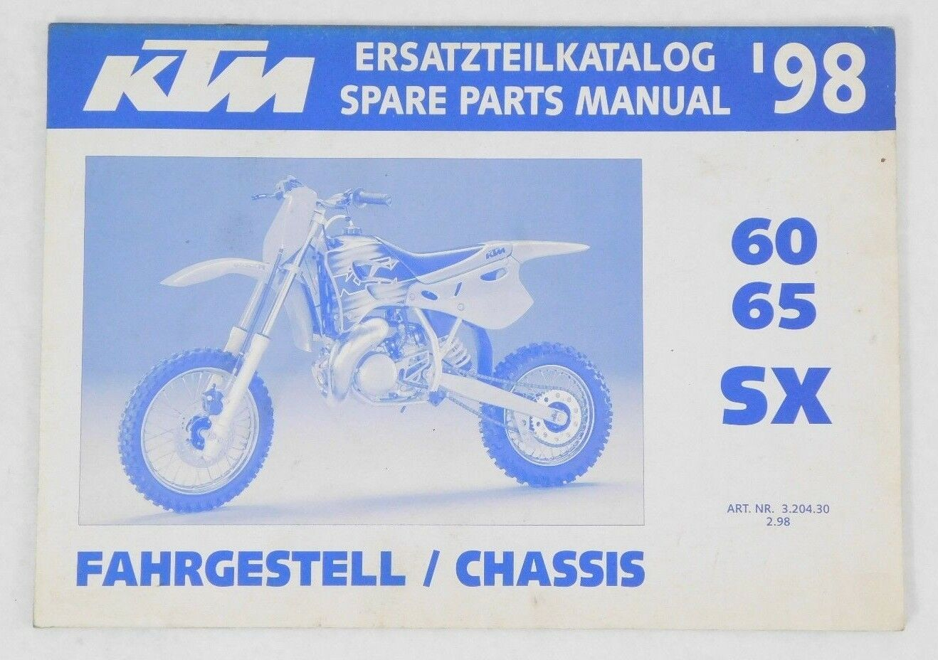 1998 Genuine KTM OEM 60 65 SX Factory Spare Parts Manual Catalog Guide Book 98