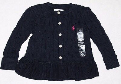 New Ralph Lauren Baby Girl Cable Knit  Cotton Peplum Sweater Cardigan Navy 12 mo
