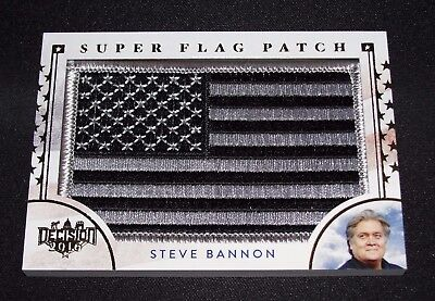Decision 2016 Steve Bannon Black   White Super Flag Patch  Sf67 Breitbart Trump