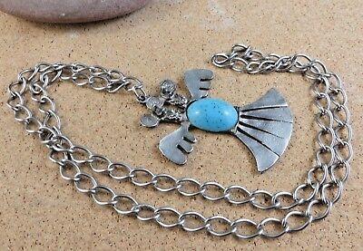 """XL Vintage Faux Blue Turquoise Silver-tone Bird Pendant 30"""" Chain Necklace #250"""