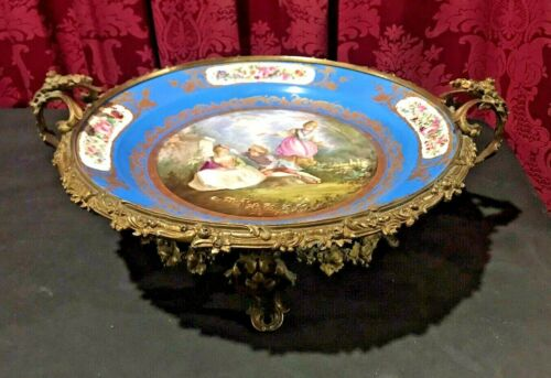 BEAUTIFUL ANTIQUE VICTORIAN SEVRES PORCELAIN BRONZE MOUNTED COMPOTE BOWL