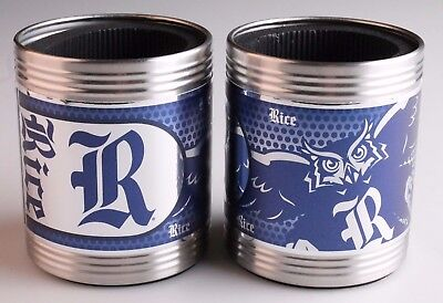 New NCAA Rice Owls Stainless Steel Can Holder Set Hi-Definition Metallic Graphic