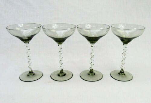 Vintage Champagne glasses Twisted Stem gray cocktail liquor set of 4