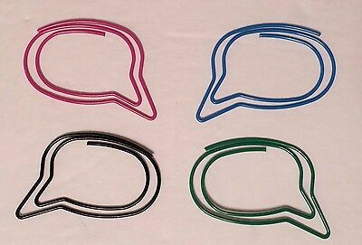 Speech Bubble Shaped Paper Clips Pack-24 - Pink Green Blue Black 1.75 Wide