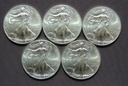 Lot of 5 coins 2015 Silver American Eagle bright white uncirculated SAE