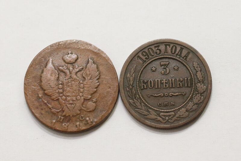 RUSSIA 2 KOPEKS 1814 + 3 KOPEKS 1903 A98 RDD20