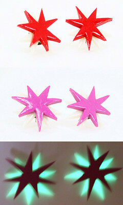 Halloween Jem Holograms (Jem and the Holograms Star Earrings 1 INCH *Glow In The Dark* 80's Misfits)