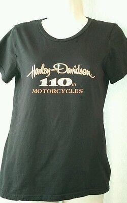 WOMENS HARLEY DAVIDSON SHIRT SIZE M 110th ANNIVERSARY RHINESTONE